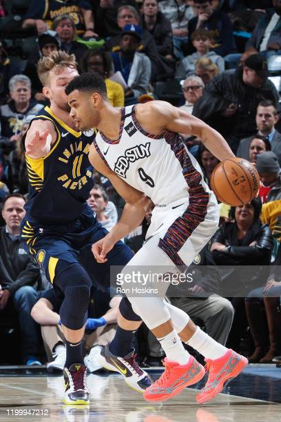 Timothe LuwawuCabarrot of the Brooklyn Nets handles the ball against the Indiana Pacers on February 10 2020 at Bankers Life Fieldhouse in...