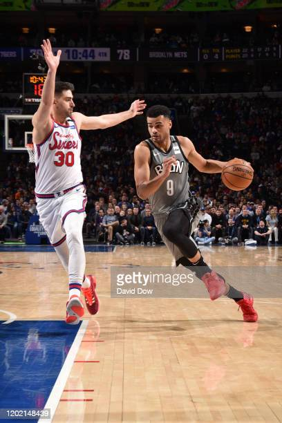 Timothe LuwawuCabarrot of the Brooklyn Nets handles the ball against the Philadelphia 76ers on February 20 2020 at the Wells Fargo Center in...