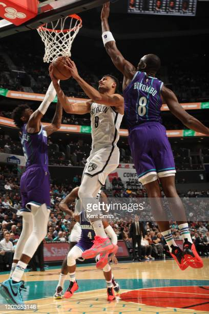 Timothe LuwawuCabarrot of the Brooklyn Nets shoots the ball against the Charlotte Hornets on February 22 2020 at Spectrum Center in Charlotte North...