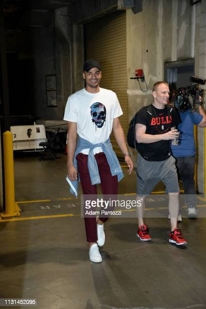 Timothe LuwawuCabarrot of the Chicago Bulls arrives to the game against the LA Clippers on March 15 2019 at STAPLES Center in Los Angeles California...