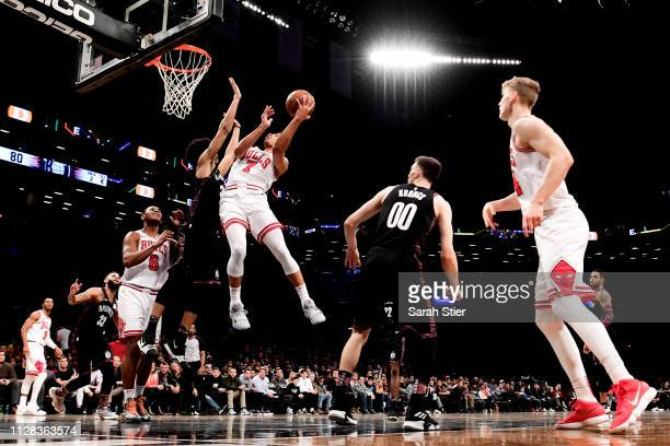 Timothe LuwawuCabarrot of the Chicago Bulls attempts a layup during the second half of the game against the Brooklyn Nets at Barclays Center on...