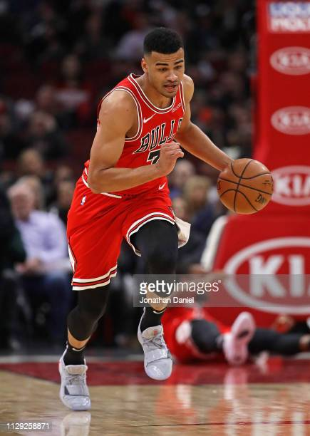 Timothe LuwawuCabarrot of the Chicago Bulls brings the ball up the court against the Milwaukee Bucks at the United Center on February 11 2019 in...