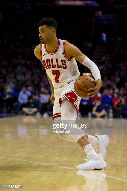 Timothe LuwawuCabarrot of the Chicago Bulls dribbles the ball against the Philadelphia 76ers at the Wells Fargo Center on April 10 2019 in...