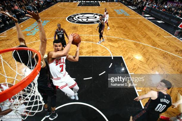 Timothe LuwawuCabarrot of the Chicago Bulls goes to the basket against the Brooklyn Nets on February 8 2019 at Barclays Center in Brooklyn New York...