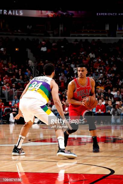 Timothe LuwawuCabarrot of the Chicago Bulls handles the ball against the New Orleans Pelicans on February 6 2019 at United Center in Chicago Illinois...