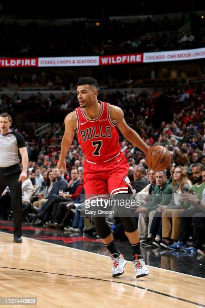 Timothe LuwawuCabarrot of the Chicago Bulls handles the ball during the game against the Milwaukee Bucks on February 25 2019 at the United Center in...