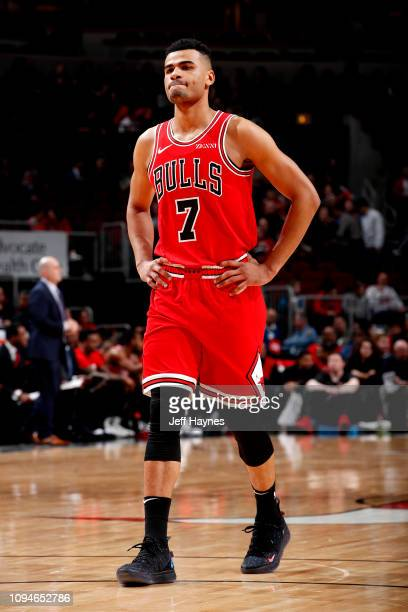 Timothe LuwawuCabarrot of the Chicago Bulls looks on against the New Orleans Pelicans on February 6 2019 at United Center in Chicago Illinois NOTE TO...
