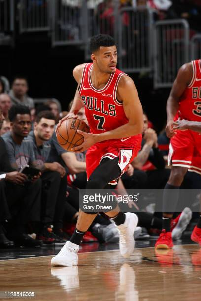 Timothe LuwawuCabarrot of the Chicago Bulls looks to pass the ball during the game against the Atlanta Hawks on March 3 2019 at the United Center in...