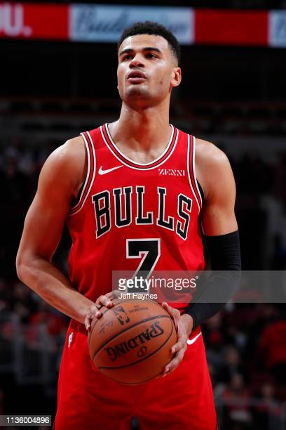 Timothe LuwawuCabarrot of the Chicago Bulls shoots free throws during the game against the Philadelphia 76ers on April 6 2019 at United Center in...