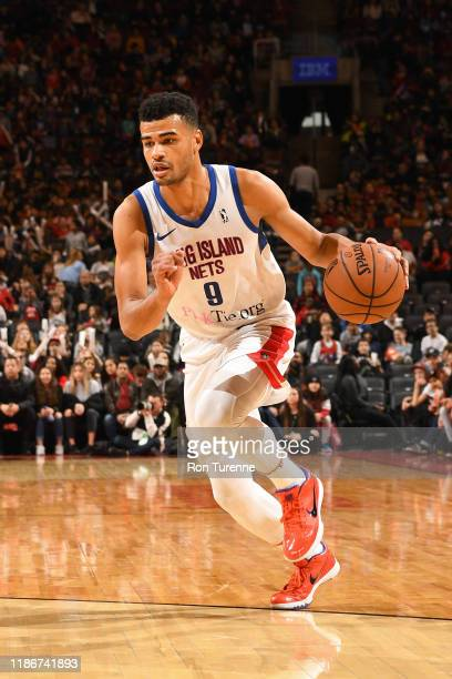 Timothe LuwawuCabarrot of the Long Island Nets dribbles the ball against the Raptors 905 on December 5 2019 in Toronto Ontario at Soctiabank Arena...