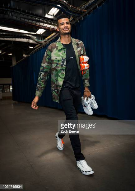 Timothe LuwawuCabarrot of the Oklahoma City Thunder arrives to the arena prior to the game against the Phoenix Suns on October 28 2018 at Chesapeake...