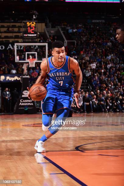 Timothe LuwawuCabarrot of the Oklahoma City Thunder handles the ball against the Phoenix Suns on November 17 2018 at Talking Stick Resort Arena in...