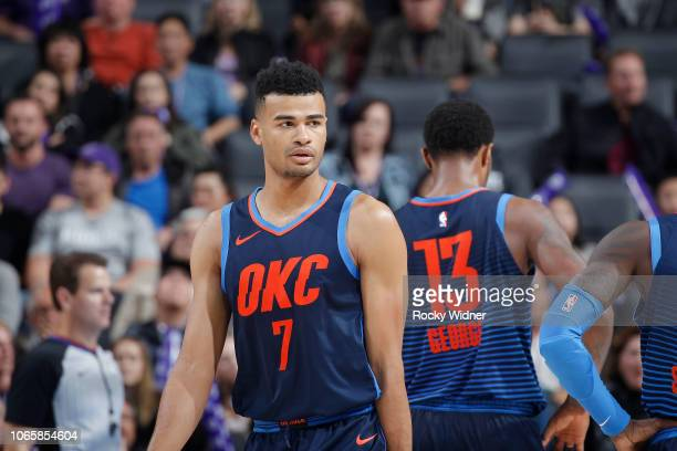 Timothe LuwawuCabarrot of the Oklahoma City Thunder looks on during the game against the Sacramento Kings on November 19 2018 at Golden 1 Center in...