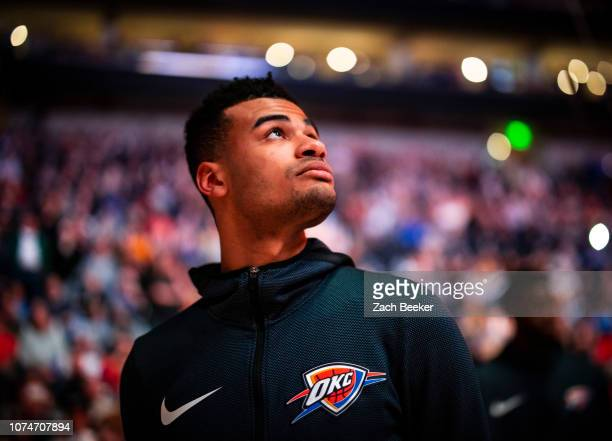 Timothe LuwawuCabarrot of the Oklahoma City Thunder looks on prior to the game against the Utah Jazz on December 22 2018 at vivintSmartHome Arena in...