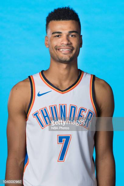 Timothe LuwawuCabarrot of the Oklahoma City Thunder poses for a head shot during media day at Chesapeake Energy Arena on September 24 2018 in...