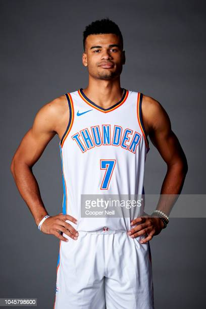Timothe LuwawuCabarrot of the Oklahoma City Thunder poses for a photo during media day at the Chesapeake Energy Arena on September 24 2018 in...