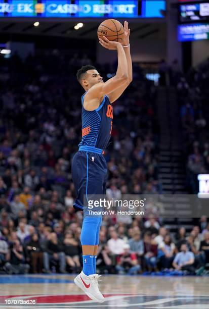 Timothe LuwawuCabarrot of the Oklahoma City Thunder shoots against the Sacramento Kings during an NBA basketball game at Golden 1 Center on November...
