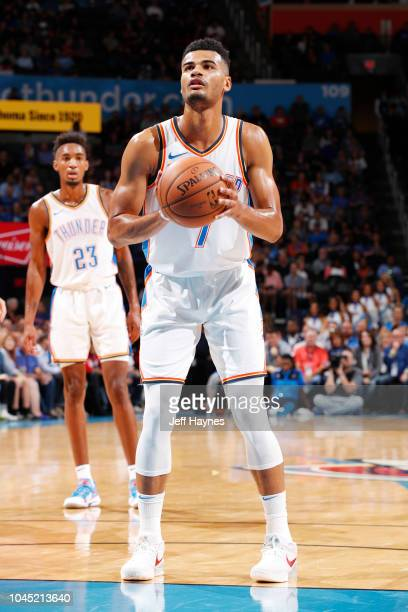 Timothe LuwawuCabarrot of the Oklahoma City Thunder shoots the ball against the Detroit Pistons during a preseason game on October 3 2018 at the...