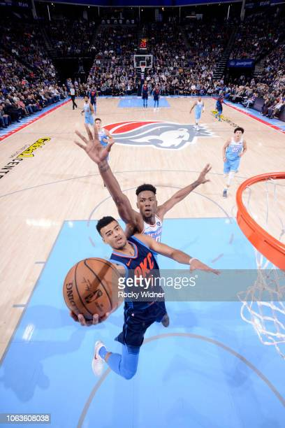 Timothe LuwawuCabarrot of the Oklahoma City Thunder shoots the ball against the Sacramento Kings on November 19 2018 at Golden 1 Center in Sacramento...