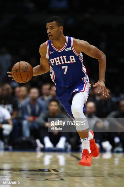 Timothe LuwawuCabarrot of the Philadelphia 76ers brings the ball upcourt against the Brooklyn Nets during their Pre Season game at Nassau Veterans...