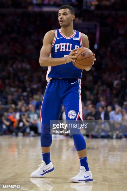 Timothe LuwawuCabarrot of the Philadelphia 76ers controls the ball against the Atlanta Hawks at the Wells Fargo Center on November 1 2017 in...