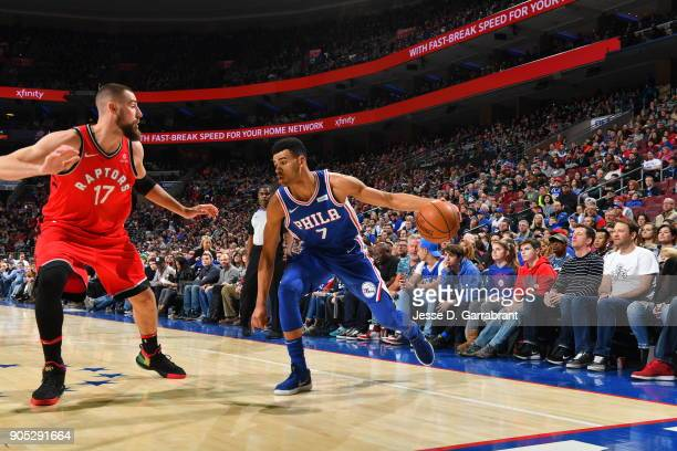 Timothe LuwawuCabarrot of the Philadelphia 76ers controls the ball against the Toronto Raptors at Wells Fargo Center on January 15 2018 in...