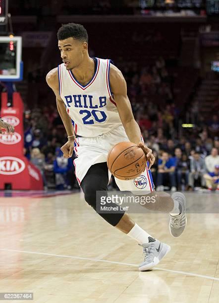 Timothe LuwawuCabarrot of the Philadelphia 76ers dribbles the ball against the Utah Jazz at Wells Fargo Center on November 7 2016 in Philadelphia...