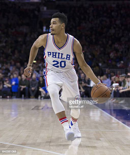Timothe LuwawuCabarrot of the Philadelphia 76ers dribbles the ball against the Houston Rockets at the Wells Fargo Center on January 27 2017 in...