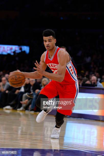 Timothe LuwawuCabarrot of the Philadelphia 76ers dribbles the ball during the game against the Los Angeles Lakers on March 12 2017 at STAPLES Center...