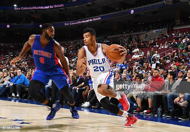 Timothe LuwawuCabarrot of the Philadelphia 76ers drives baseline against Detroit Pistons during a preseason game at the Wells Fargo Center on October...