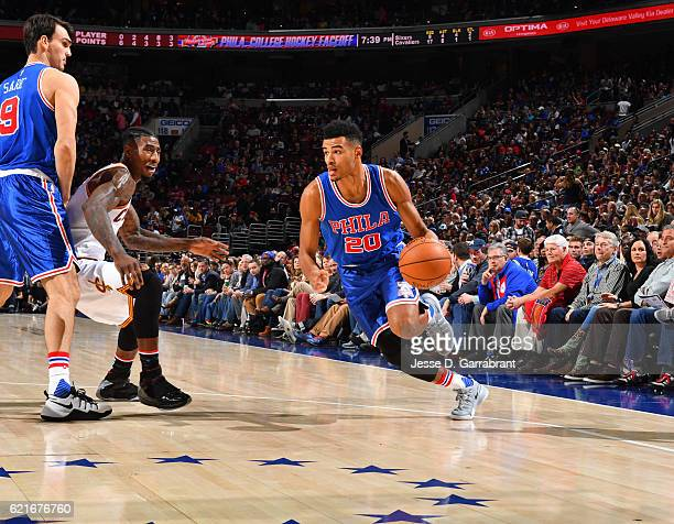 Timothe LuwawuCabarrot of the Philadelphia 76ers drives baseline against the Cleveland Cavaliers during a game at the Wells Fargo Center on November...