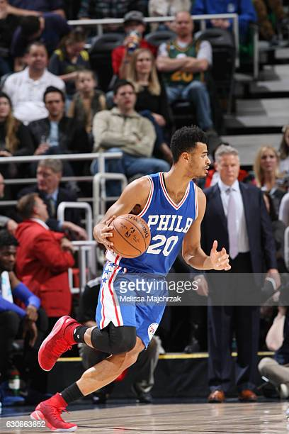 Timothe LuwawuCabarrot of the Philadelphia 76ers drives to the basket against the Utah Jazz during the game on December 29 2016 at vivintSmartHome...