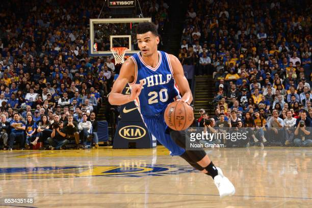 Timothe LuwawuCabarrot of the Philadelphia 76ers drives to the basket against the Golden State Warriors during the game on March 14 2017 at ORACLE...
