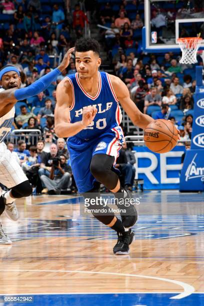 Timothe LuwawuCabarrot of the Philadelphia 76ers drives to the basket against the Orlando Magic during the game on March 20 2017 at Amway Center in...