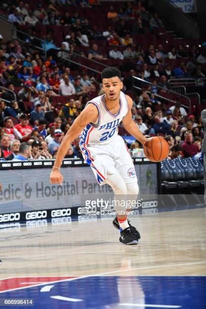 Timothe LuwawuCabarrot of the Philadelphia 76ers drives to the basket against the Indiana Pacers at Wells Fargo Center on April 10 2017 in...