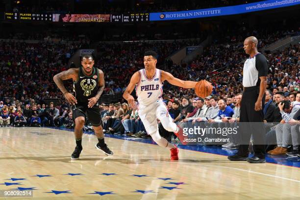 Timothe LuwawuCabarrot of the Philadelphia 76ers drives to the basket against the Milwaukee Bucks at Wells Fargo Center on January 20 2018 in...