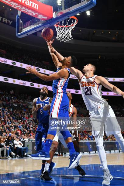 Timothe LuwawuCabarrot of the Philadelphia 76ers goes to the basket against the Phoenix Suns on December 4 2017 at Wells Fargo Center in Philadelphia...