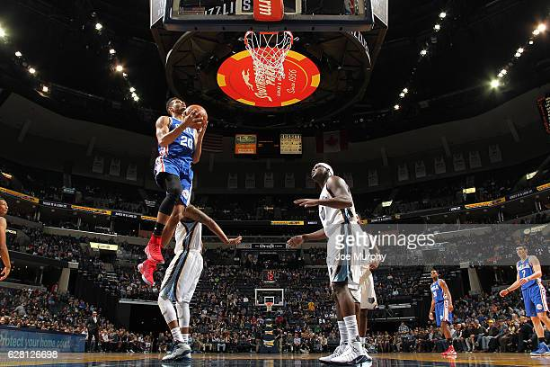 Timothe LuwawuCabarrot of the Philadelphia 76ers goes up for a lay up against the Memphis Grizzlies on December 6 2016 at FedExForum in Memphis...