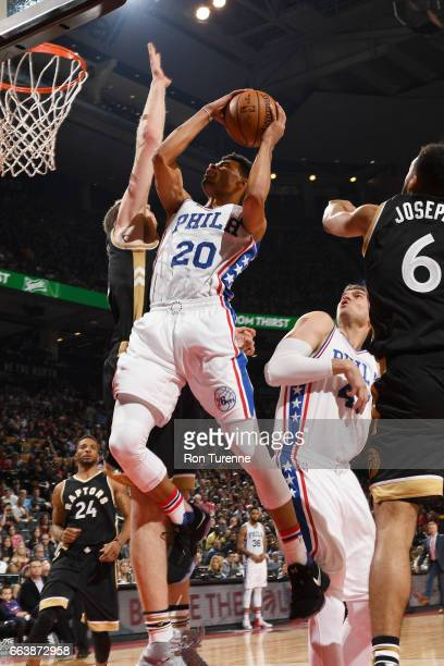 Timothe LuwawuCabarrot of the Philadelphia 76ers goes up for a shot during a game against the Toronto Raptors on April 2 2017 at the Air Canada...