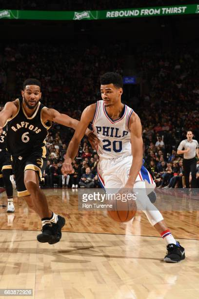 Timothe LuwawuCabarrot of the Philadelphia 76ers handles the ball during a game against the Toronto Raptors on April 2 2017 at the Air Canada Centre...