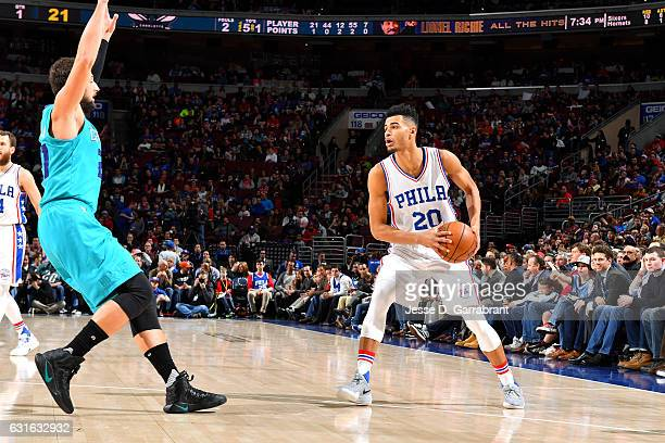 Timothe LuwawuCabarrot of the Philadelphia 76ers handles the ball during the game against the Charlotte Hornets on January 13 2017 at Wells Fargo...