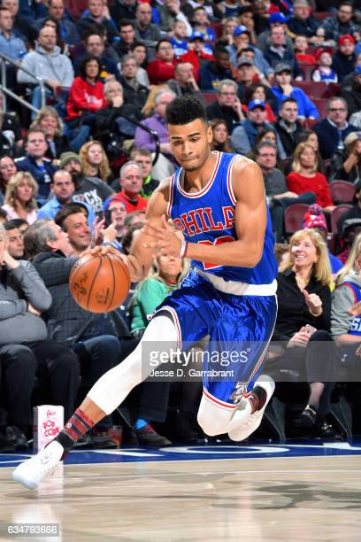 Timothe LuwawuCabarrot of the Philadelphia 76ers handles the ball during the game against the Miami Heat on February 11 2017 at Wells Fargo Center in...