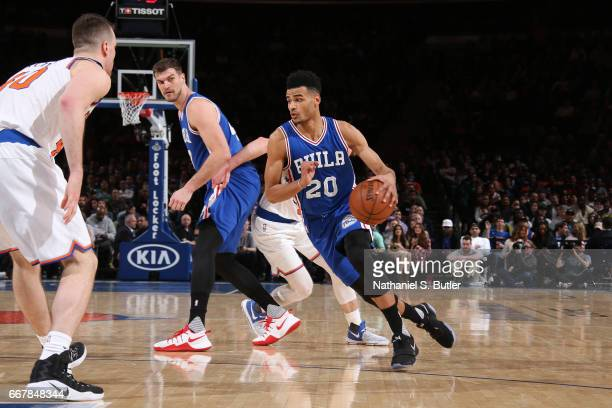 Timothe LuwawuCabarrot of the Philadelphia 76ers handles the ball against the New York Knicks on April 12 2017 at Madison Square Garden in New York...