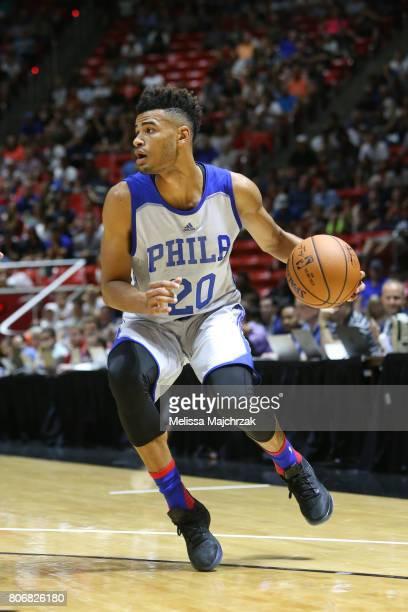 Timothe LuwawuCabarrot of the Philadelphia 76ers handles the ball against the Boston Celtics on July 3 2017 at Jon M Huntsman Center in Salt Lake...