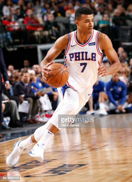 Timothe LuwawuCabarrot of the Philadelphia 76ers handles the ball against the Dallas Mavericks on October 28 2017 at the American Airlines Center in...