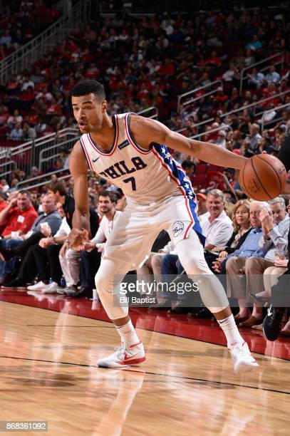 Timothe LuwawuCabarrot of the Philadelphia 76ers handles the ball against the Houston Rockets on October 30 2017 at the Toyota Center in Houston...