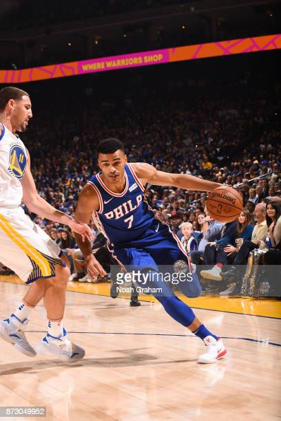 Timothe LuwawuCabarrot of the Philadelphia 76ers handles the ball against the Golden State Warriors on November 11 2017 at ORACLE Arena in Oakland...