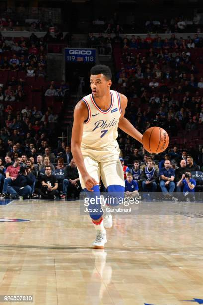 Timothe LuwawuCabarrot of the Philadelphia 76ers handles the ball against the Charlotte Hornets on March 2 2018 at the Wells Fargo Center in...