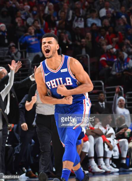 Timothe LuwawuCabarrot of the Philadelphia 76ers is pumped up after the play against the Toronto Raptors at Wells Fargo Center on December 21 2017 in...