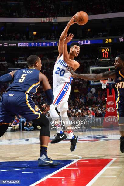 Timothe LuwawuCabarrot of the Philadelphia 76ers passes the ball against the Indiana Pacers at Wells Fargo Center on April 10 2017 in Philadelphia...
